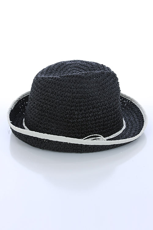 STRAW FEDORA WITH BRAIDED TRIM