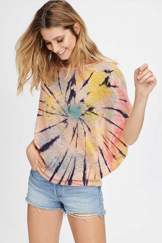 Colorful Tie dye dolman knit top