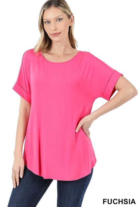 LUXE RAYON ROLLED SLEEVE BOAT NECK ROUND HEM TOP