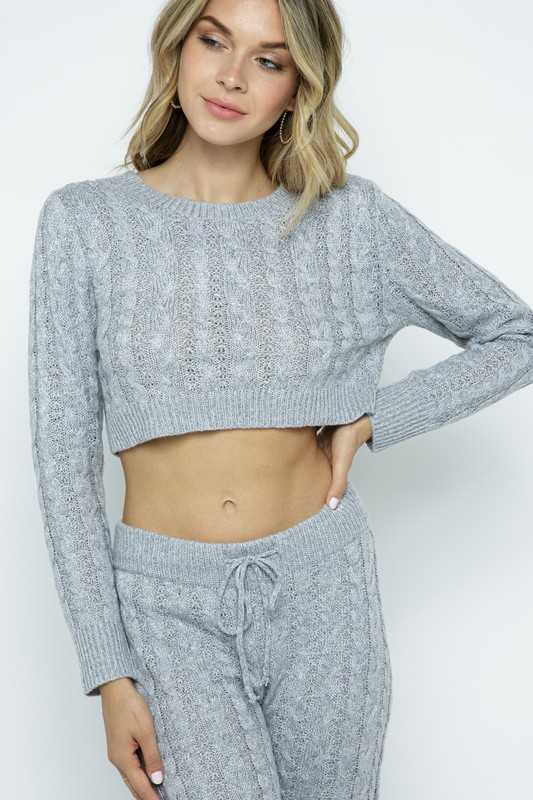 Comfy Cable Knit Cropped Pullover Sweater