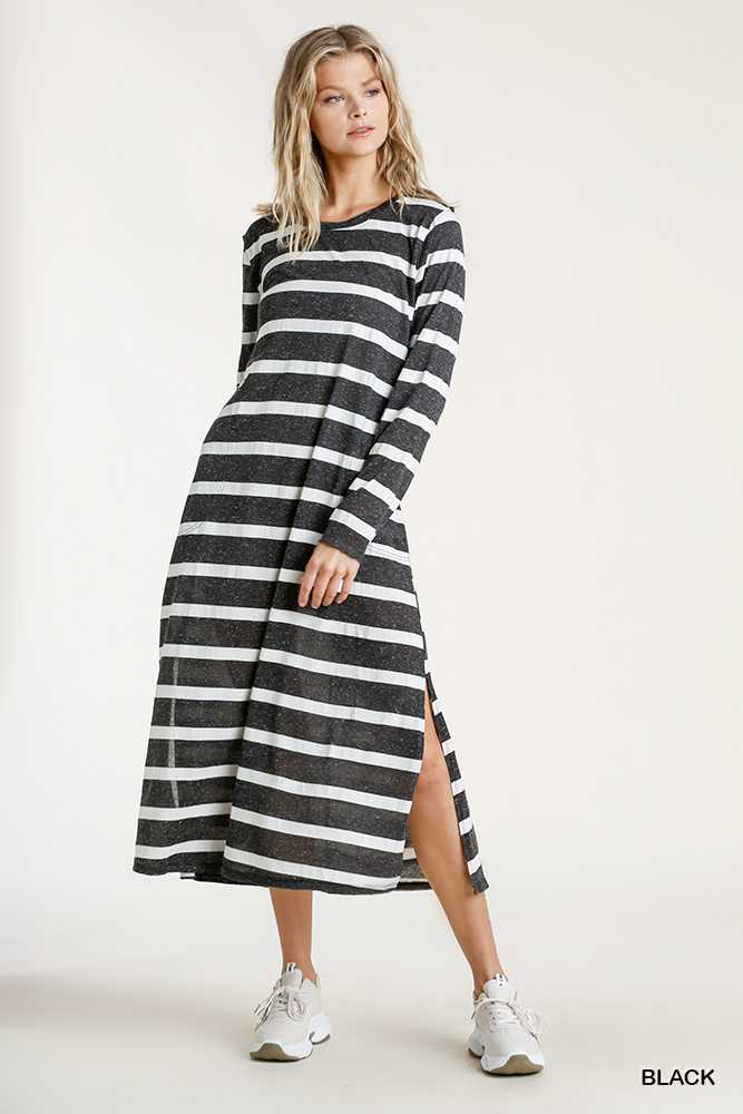Striped Twisted Round Neck Long Sleeve Maxi Dress