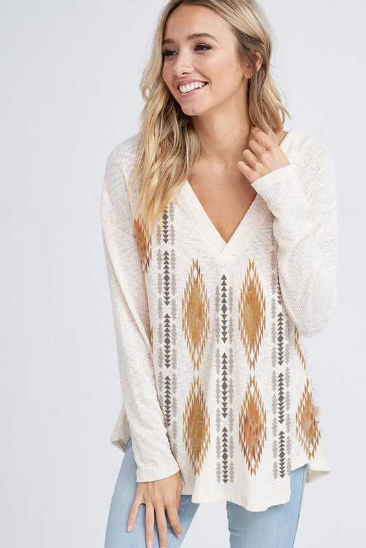 Tribal  v neck rib hoodie top