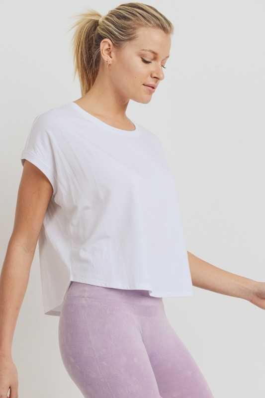 Essential Boxy Crop Top with Short Dolman Sleeves