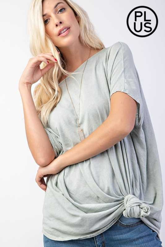 Plus Mineral Wash Poncho Silhouette Knit Top