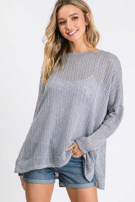 Round neck drop shoulder relaxed top