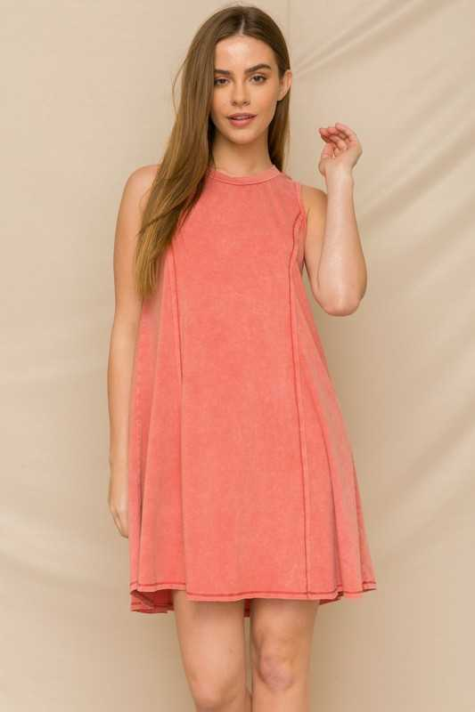 OVER DYED SLEEVELESS CREW NECK DRESS