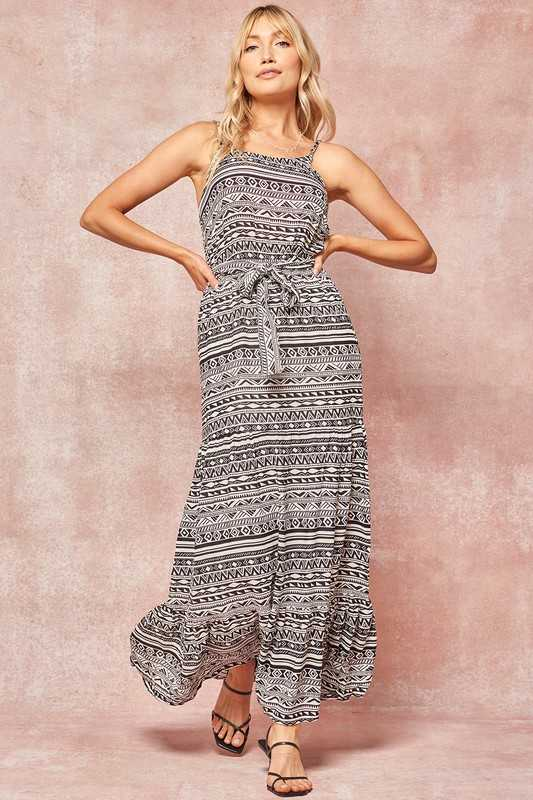 Geo Pattern Belted Cami Maxi Dress