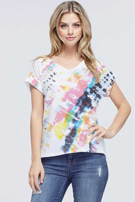 Tie dye v neck short sleeve top