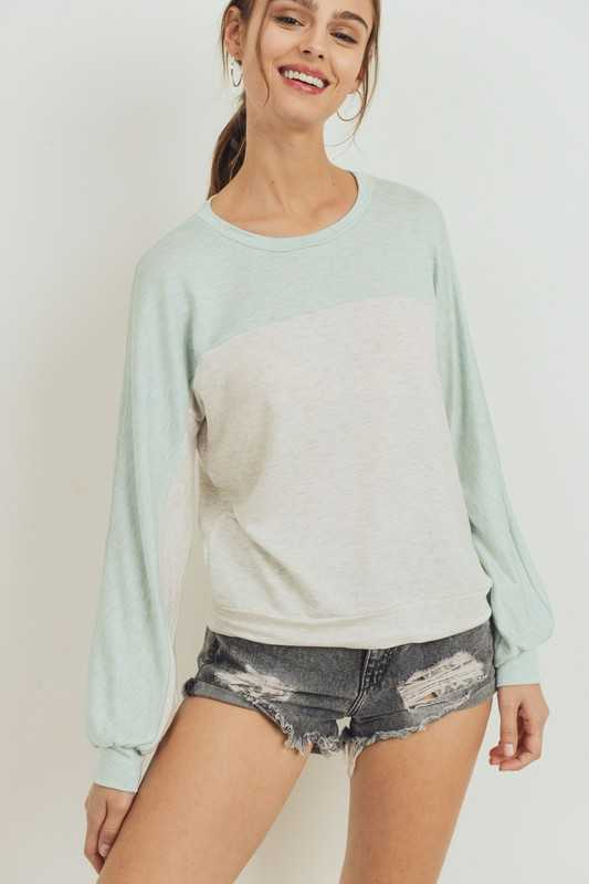 French Terry Top Yoke Color Block Long Sleeve