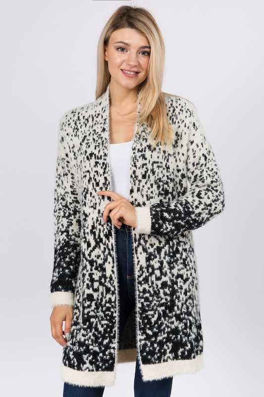 SPOTTED PATTERN SWEATER OPEN CARDIGAN
