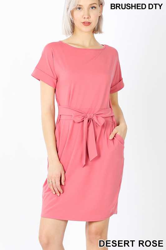 BRUSHED DTY TIE-BELT DRESS
