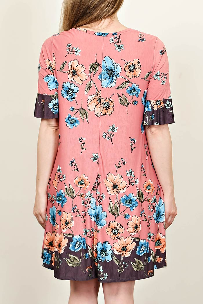 PLUS FLORAL FLARING DRESS