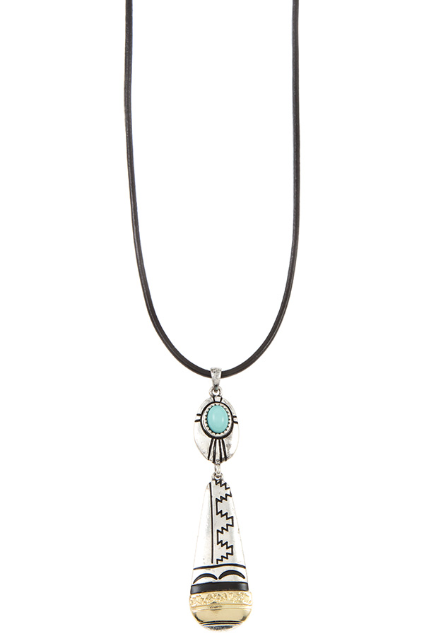 TRIBAL DETAIELD PENDANT FAUX LEATHER CORD NECKLACE