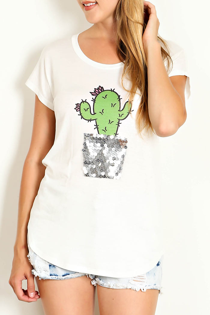 SEQUIN CACTUS TRIM ROUND NECK TOP