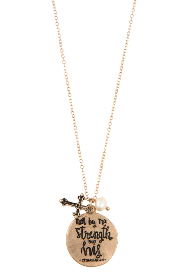 ZECHARIAH 4:6 MESSAGE DISK PENDANT NECKLACE SET
