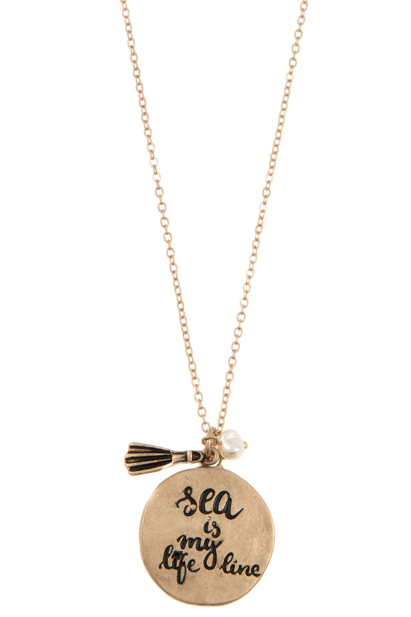 SEA IS MY LIFE LINE DISK PENDANT NECKLACE SET