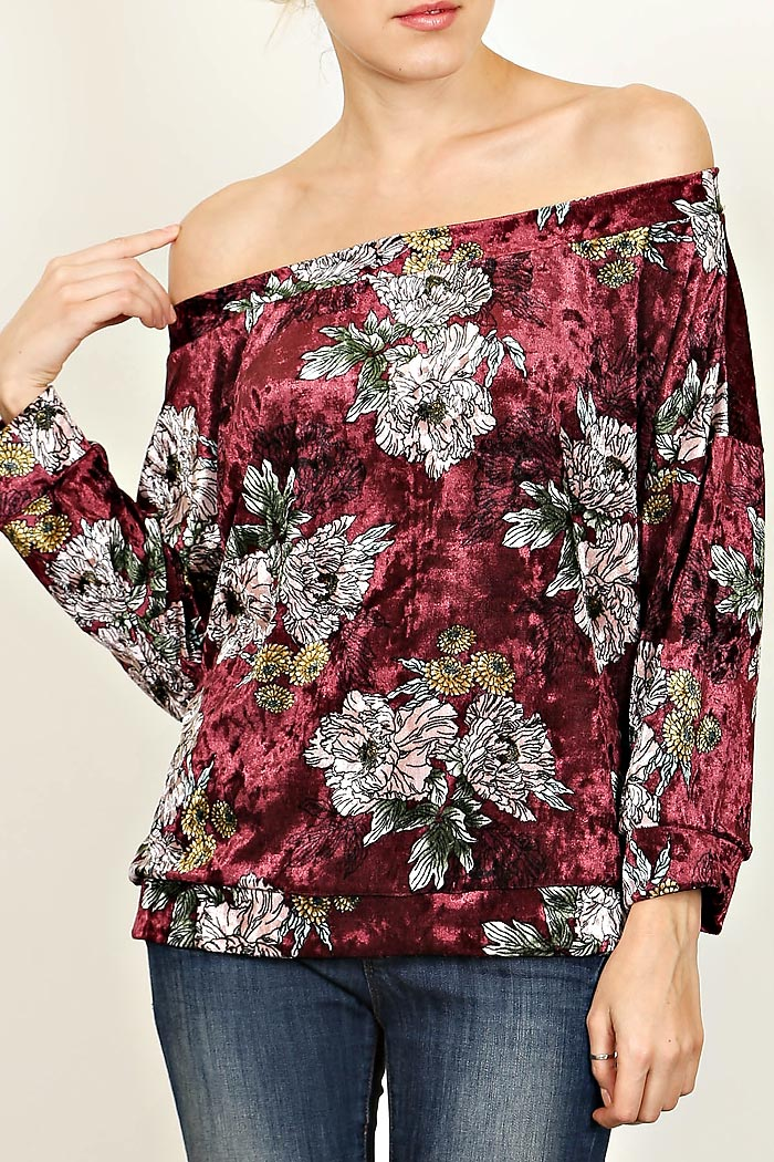 VELOUR OFF SHOULDER TOP