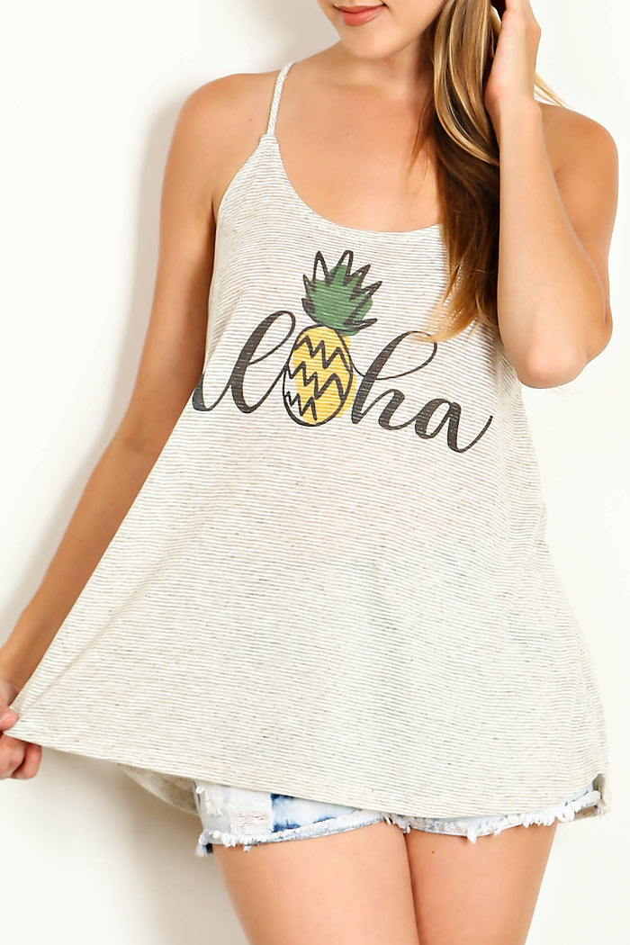 PINEAPPLE PRINT CAMISOLE KNIT TOP
