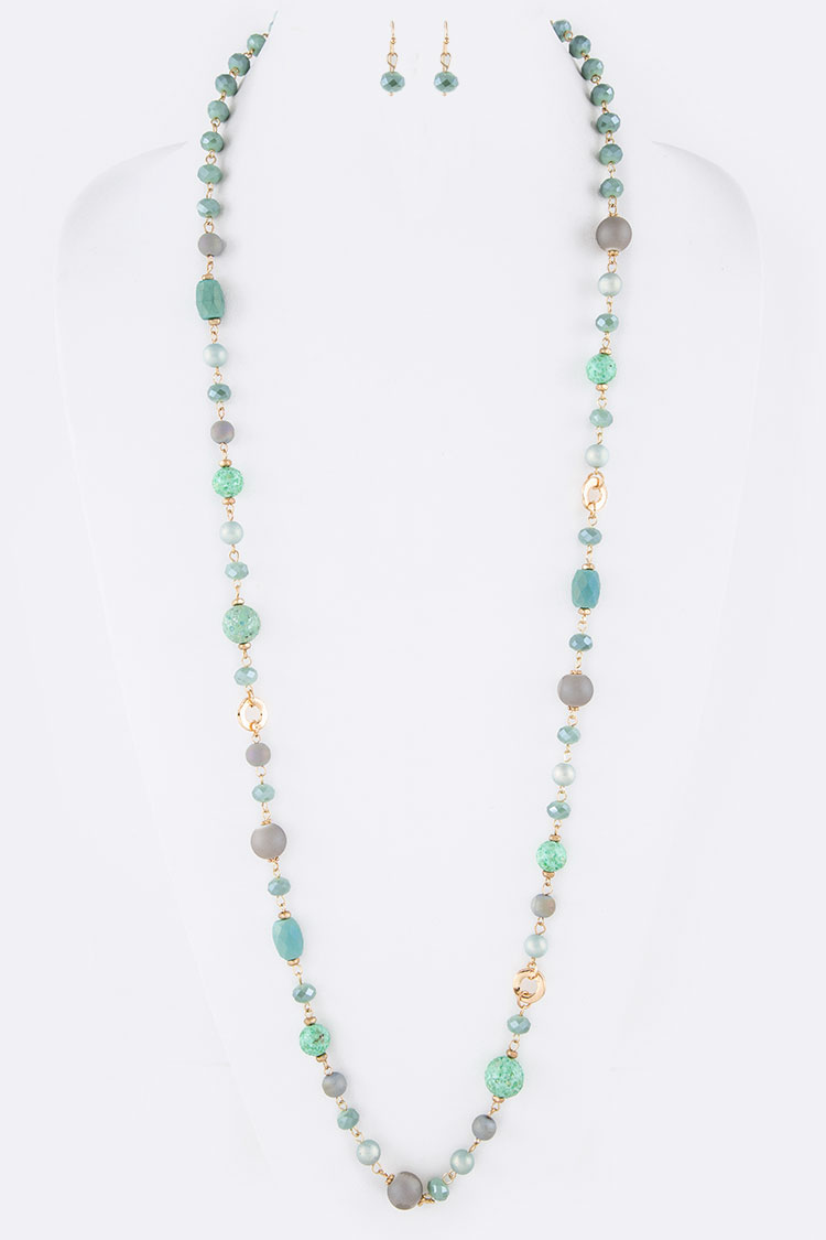 "MIX BEADS STATION 36"" LONG NECKLACE SET"