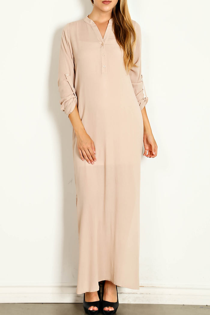 SOLID ROLL-TAB SLEEVE SLIT OPEN SIDE DRESS
