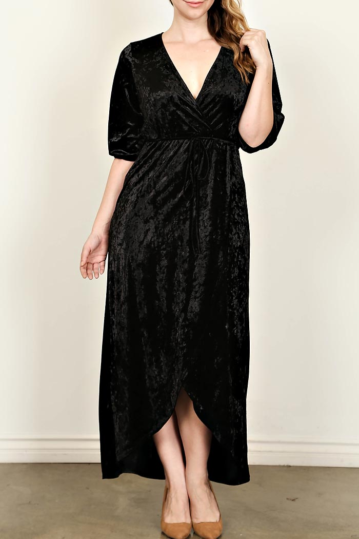 PLUS VELOUR WRAP MAXI DRESS