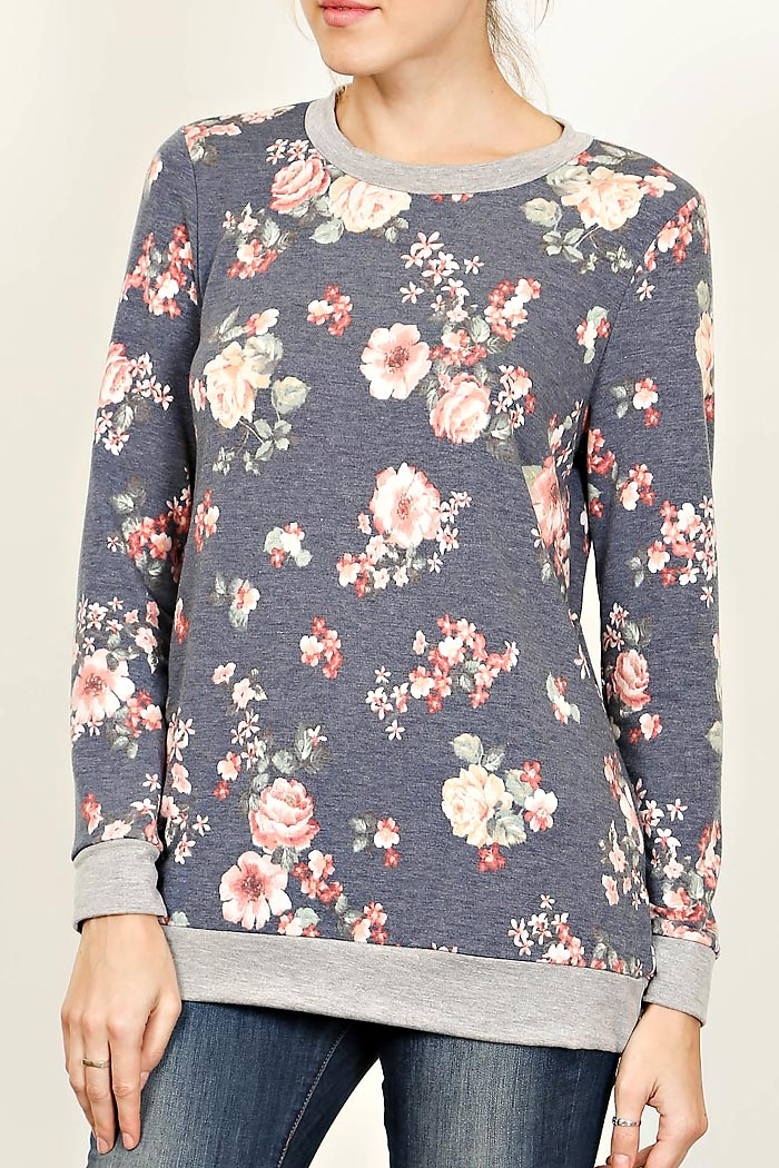 ANTIQUE FLORAL PRINT KNIT PULLOVER