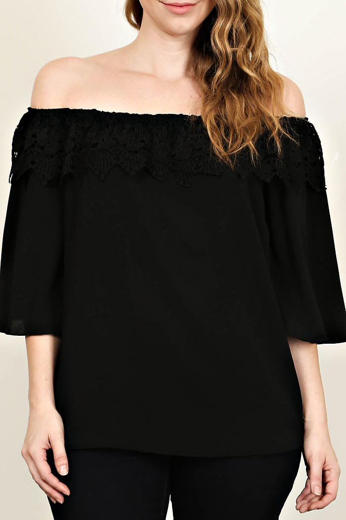 PLUS CROCHET TRIM OFF SHOULDER BLOUSE