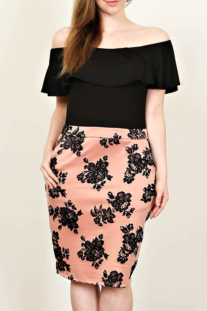 PLUS CONTRASTING FLORAL MIDI SKIRT