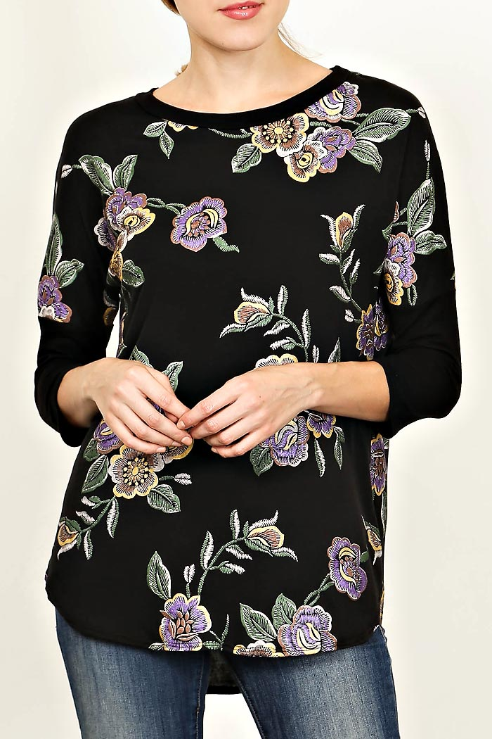 EMBROIDERY FLORAL PRINT TOP