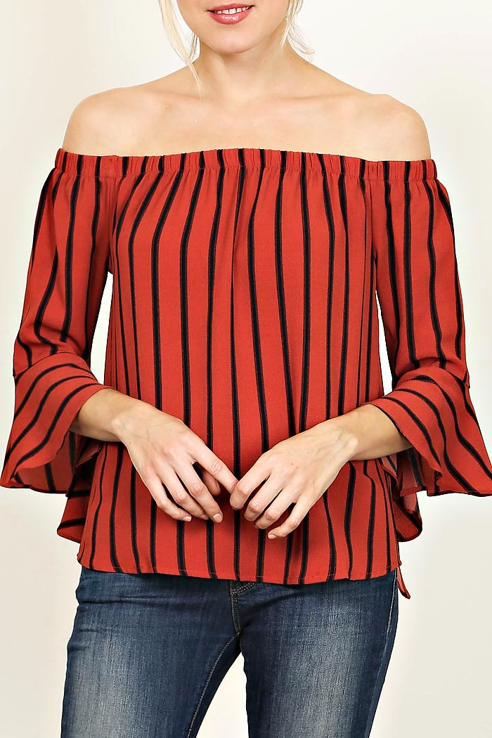 VERTICAL STRIPE OFF SHOULDER BLOUSE