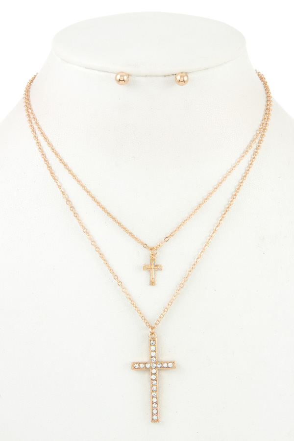 DOUBLE CROSS PENDANT NECKLACE SET