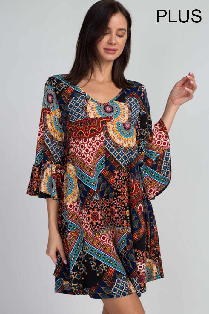 TRUMPET SLEEVES MEDALLION TRAPEZE DRESS