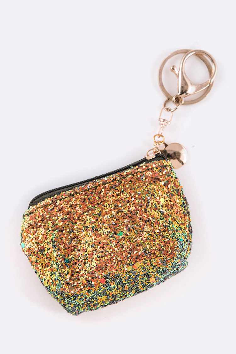 GLITTER ICONIC COIN POUCH KEY CHAIN