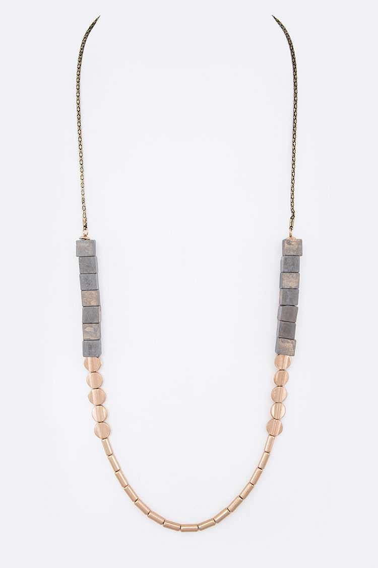 WOODEN CUBE MIX BEADS LONG NECKLACE