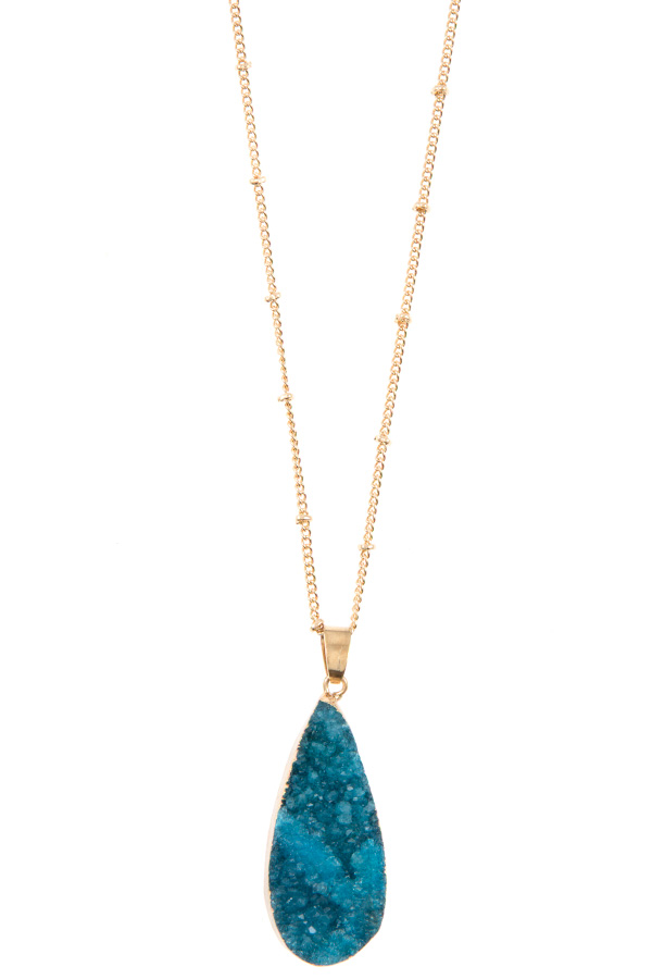 ELONGATED TEARDROP DRUZY STONE PENDANT NECKLACE