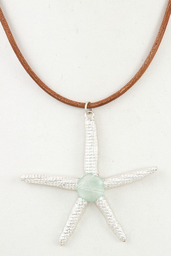 WIRED GEM STARFISH PENDANT CORD NECKLACE SET