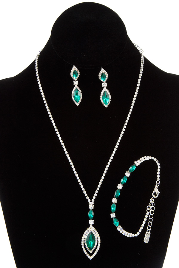 RHINESTONE FRAMED MARQUISE GEM NECKLACE BRACELET SET