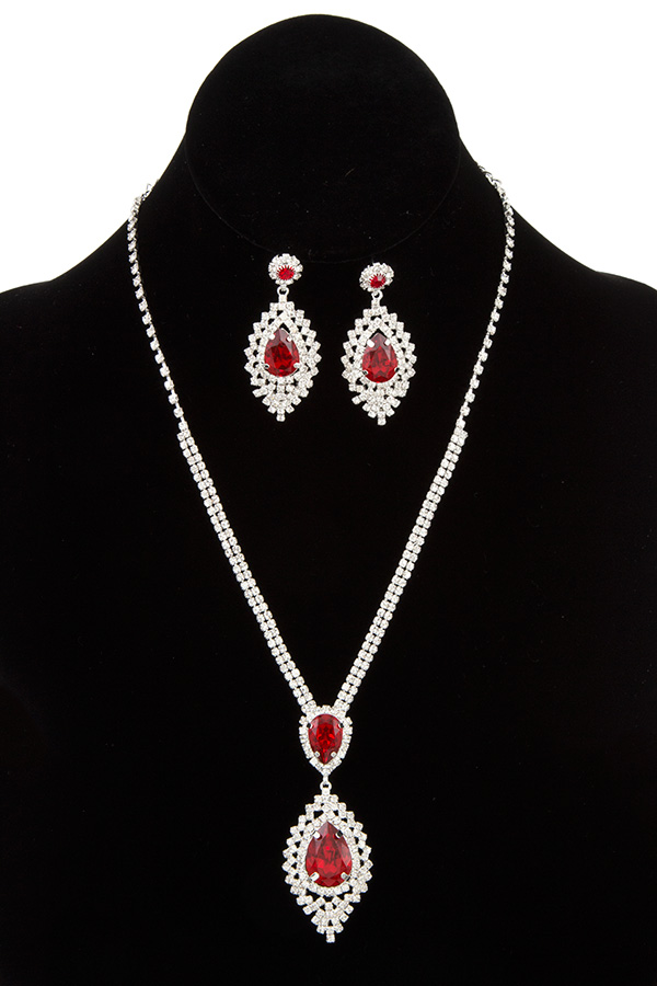 FACETED CRYSTAL RHINESTONE FRAMED EVENING NECKLACE SET