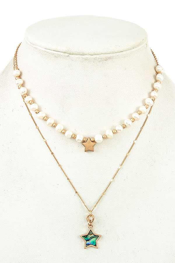 STAR LAYERED PEARL NECKLACE