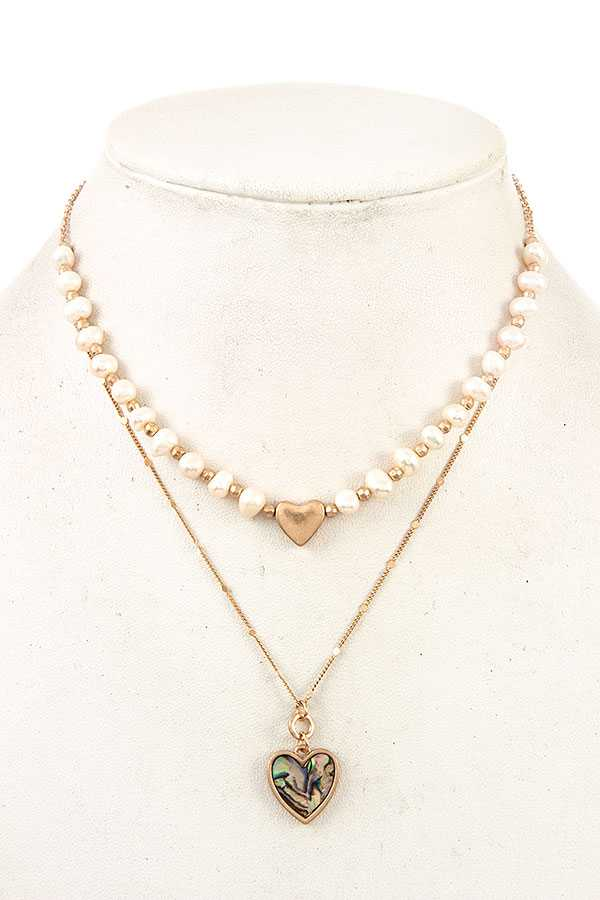 HEART PEARL LAYERED NECKLACE