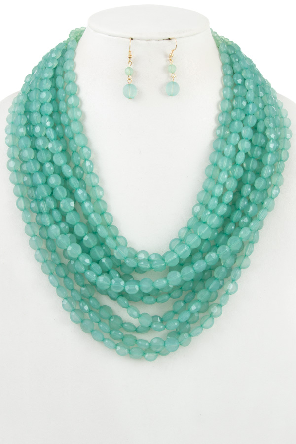 FACETED BEAD MULTI ROW NECKLACE SET