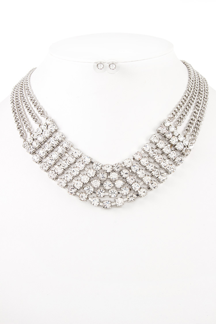 MULTI LOW CHAIN CRYSTAL PAVE BIB NECKLACE SET