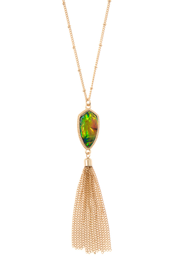 OPAL FRAMED STONE PENDANT CHAIN TASSEL NECKLACE SET