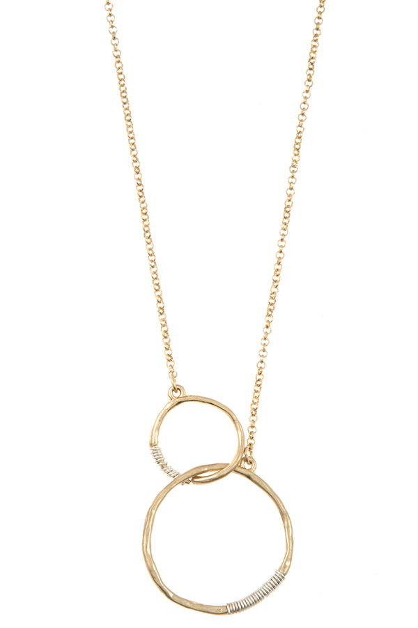 DOUBLE WIRED RING PENDANT NECKLACE