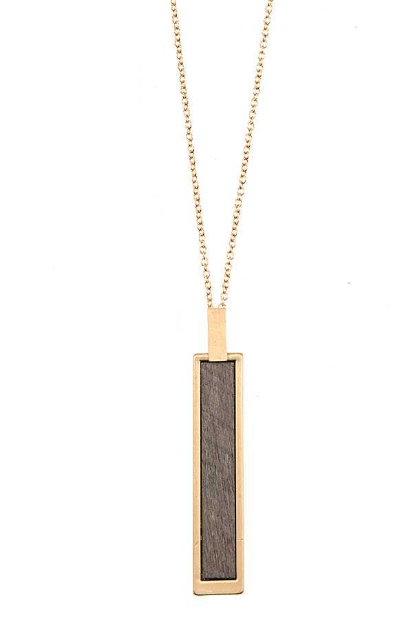 ELONGATED WOODEN BAR PENDANT NECKLACE