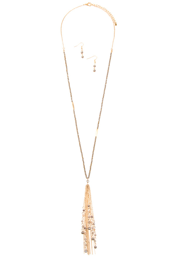 BEADED CHAIN TASSEL LONG NECKLACE SET