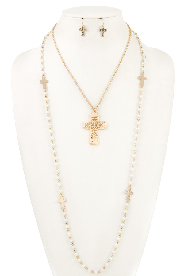 CROSS PENDANT LONG BEADED NECKLACE SET