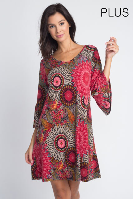 MEDALLION FLARING DRESS