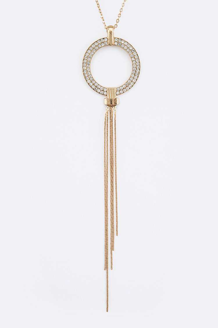 CHAIN TASSEL CRYSTAL RING PENDANT NECKLACE