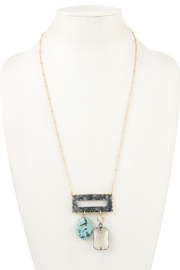 GEM DROP FRAMED STONE LONG NECKLACE